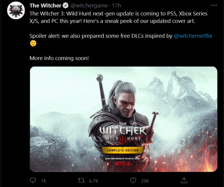 Witcher 3 Game Upgrade